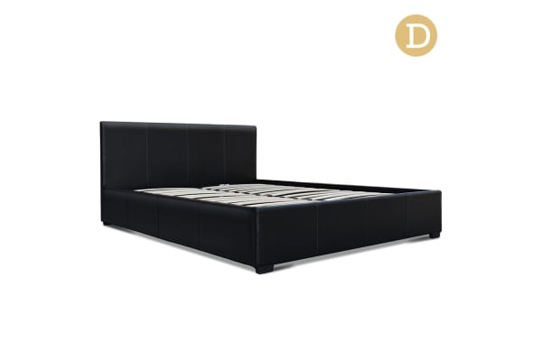 PU Leather Gas Lift Bedframe (Black) Double