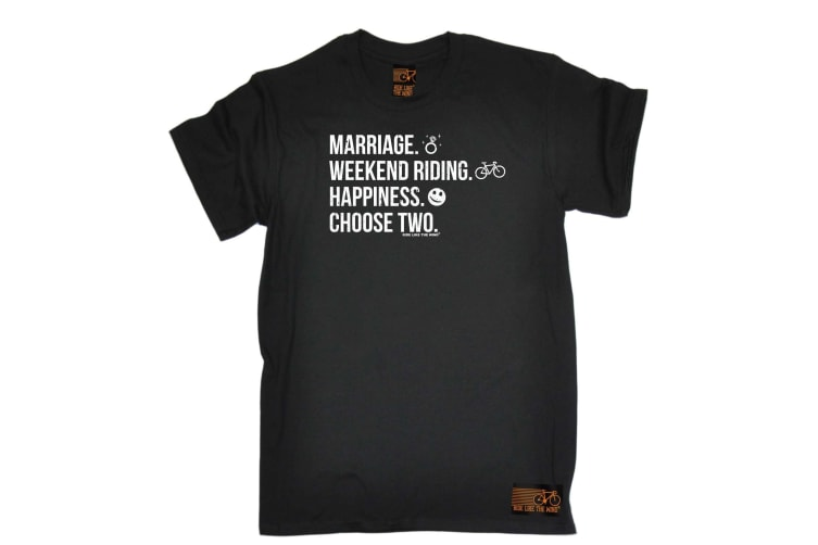 Ride Like The Wind Cycling Tee - Marriage Weekend Riding Happiness - (Medium Black Mens T Shirt)