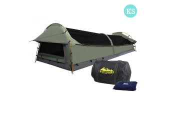 King Single Camping Canvas Swag Tent with Air Pillow (Celadon)