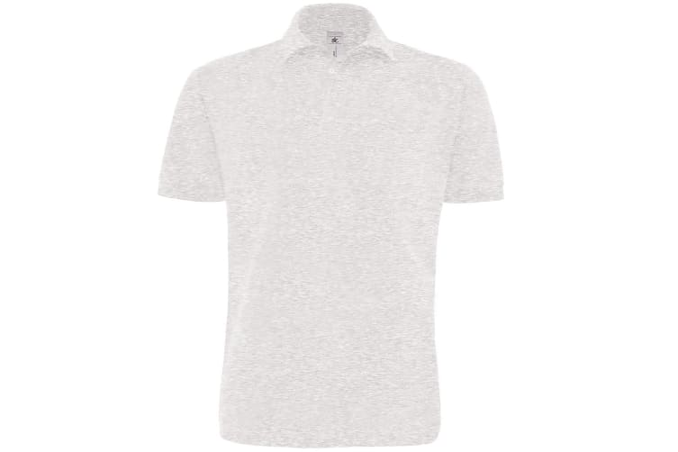 B&C Mens Heavymill Short Sleeve Cotton Polo Shirt (Ash) (XL)