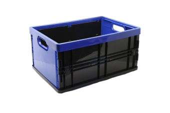 Box Sweden 45L 53.5cm Rectangle Collapsible/Foldable Crate Storage Large Blue