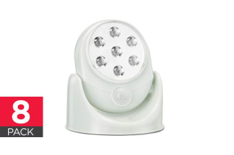 Wall Mounted Motion Sensor Cordless LED Light (White) - 8 Pack