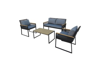 Yasin 4 Seater Outdoor Sofa Set with Poly Wood Coffee Table