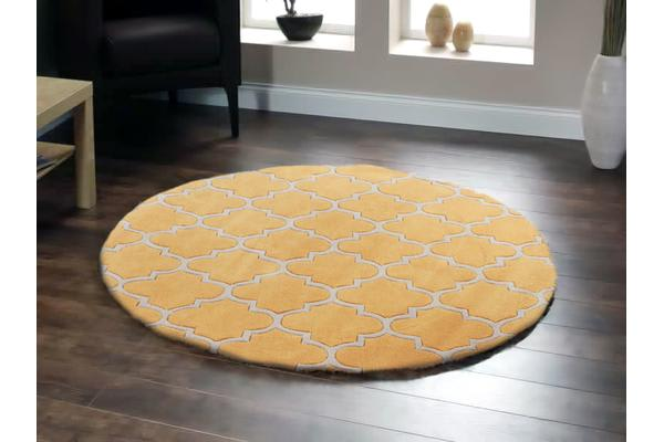 Lattice Orange Rug Round 200x200cm