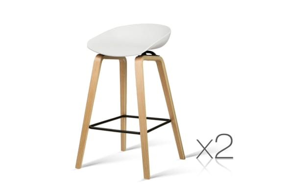 Set of 2 Wooden Barstools with Metal Footrest (White)