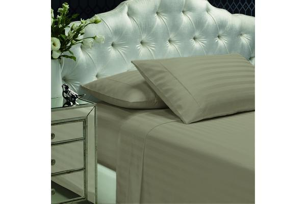 Royal Comfort 1200TC Damask Queen Linen Sheets And Duck Pillow Twin Pack