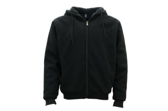 Winter Mens Womens Unisex Zip-Up Hoodie w Sherpa Fur Thick Hooded Jacket Jumper - Black