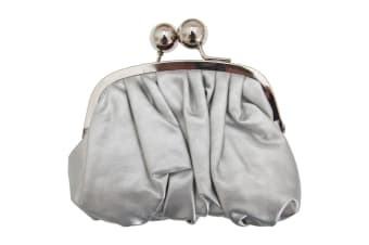 Womens/Ladies Faux Leather Coin Purse With Metal Clasp (Silver) (One Size)