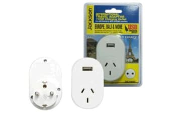 JACKSON PTA8810USB   Outbound Travel Adaptor.    With 1x USB Charging Port. Converts NZ/Aust Plugs
