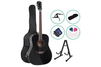 "41"" Inch Wooden Acoustic Guitar Classical Folk Full Size Capo Black"
