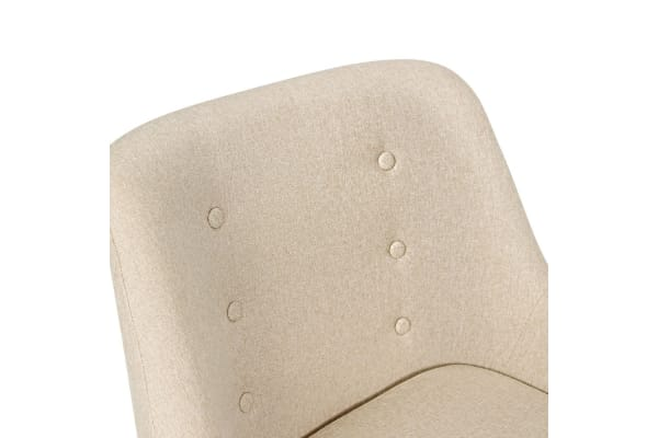 Stud Backed Fabric Dining Armchair (Beige)