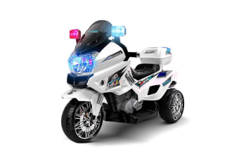 Kids Motorcycle Electric Ride on Toy Police Motorbike w/ 3 Wheels - White