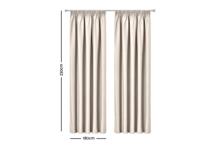 Art Queen 2 Pinch Pleat 180x230cm Blockout Curtains - Sand
