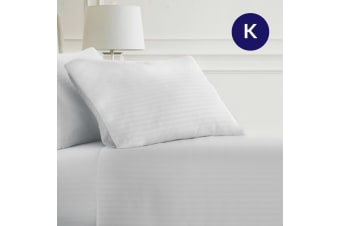 King Size 5 Star Hotel Quality 2CM White Stripe Luxury Sheet Set