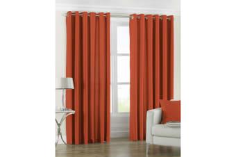 Riva Home Fiji Faux Silk Ringtop Curtains (Burnt Orange) (90x72 (229x183cm))