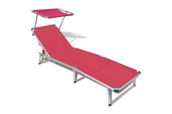 vidaXL Folding Sun Lounger with Roof Aluminium and Textilene Red