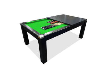 Mace 7FT Black Frame Slate Pool Dining Billiard Table with Top Free Billiard Accessories Pack, Green Felt