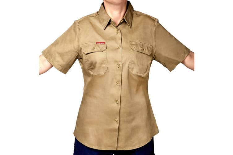 Hard Yakka Women's Cotton Drill Short Sleeve Shirt (Khaki, Size 16)
