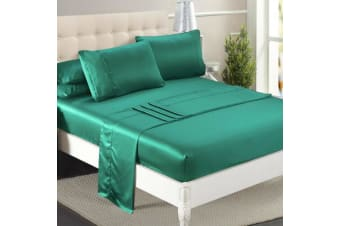 DreamZ Ultra Soft Silky Satin Bed Sheet Set in King Single Size in Teal Colour  -  TealKing single