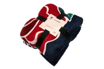 England Rugby Official Sherpa Fleece Blanket (Navy/Red/White) (One Size)