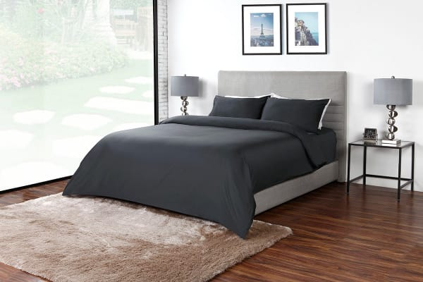 Ovela 400TC 100% Bamboo Quilt Cover Set (King, Charcoal)