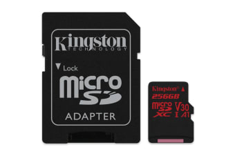 Kingston 256GB microSDXC Canvas React 100Mb/s U3 UHS-I V30 A1 Card with SD Adapter