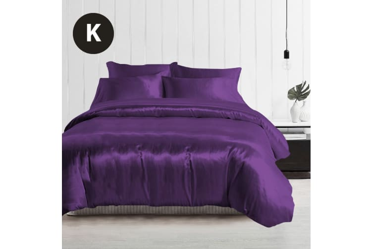 King Size Silky Feel Quilt Cover Set-Purple