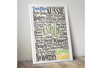 Aussie Slang Words Poster 61 x 91.5cm Australian Wall Art Hanging Graphic Man Cave Funny