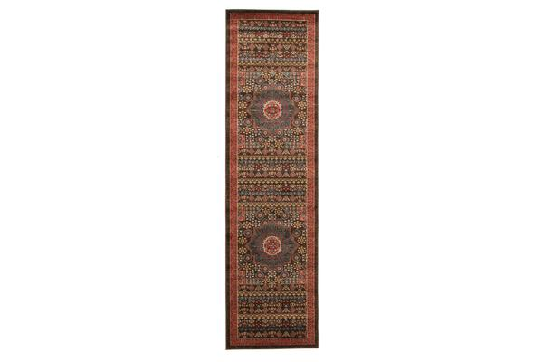 Antique Heriz Design Rug Brown Red Blue 500x80cm