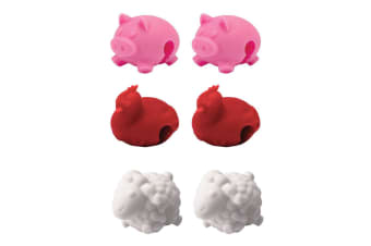 6pc Tovolo Farm Animals Silicone Pot Rim Lid Lifters Cooking Kitchen RD WHT PK