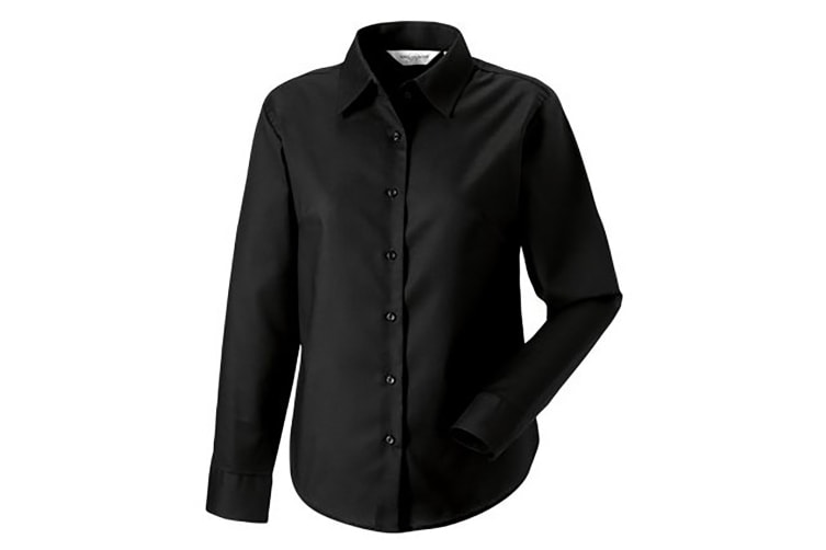 Russell Collection Ladies/Womens Long Sleeve Easy Care Oxford Shirt (Black) (XL)