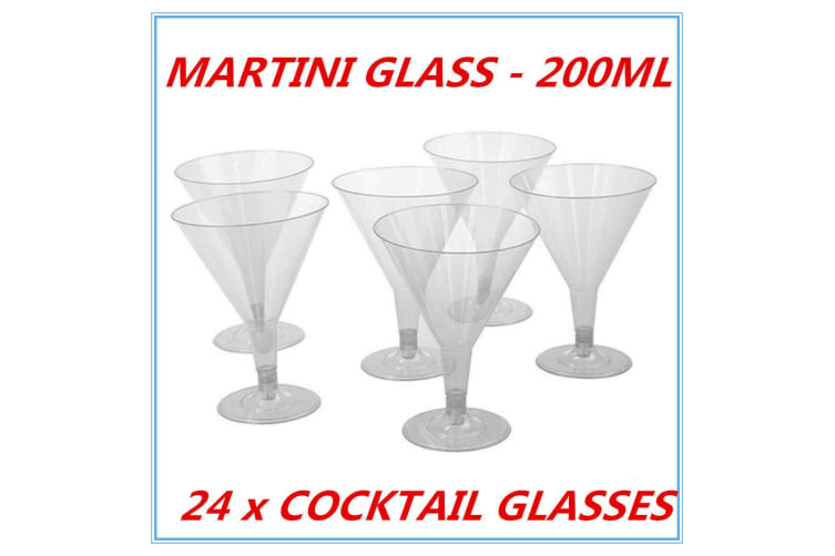 24 x CLEAR DISPOSABLE PARTY PLASTIC CLEAR COCKTAIL MARTINI GLASS 200 ML CUPS FUNCTION