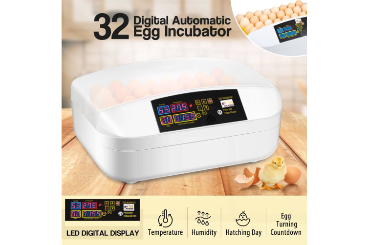 32 Egg Incubator Fully Automatic Turning Chicken Duck Poultry Egg Turner Hatcher