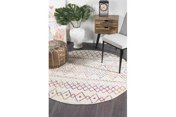Amelia Bone Ivory & Multi Scandi Durable Round Rug 240x240cm