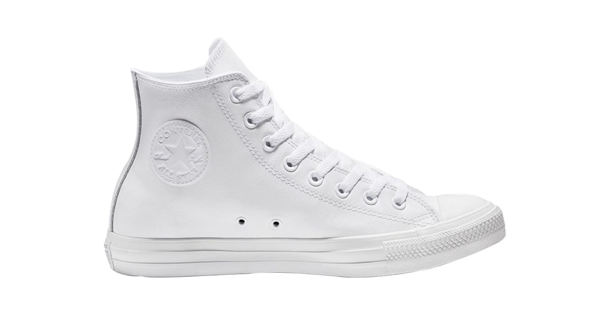 1989f99c36385 Converse Unisex Chuck Taylor All Star Leather Hi (White Monochrome, Size  9.5) | Shoes