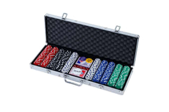 Poker Chip Set 500PC Chips TEXAS HOLD'EM Casino Gambling Party Game Dice Cards