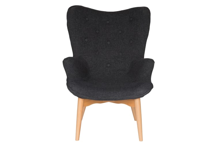 Replica Grant Featherston Contour Lounge Chair | Grey / Charcoal Fabric | Natural Legs