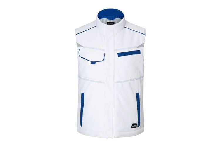 James and Nicholson Unisex Workwear Softshell Padded Vest Level 2 (White/Royal Blue) (M)