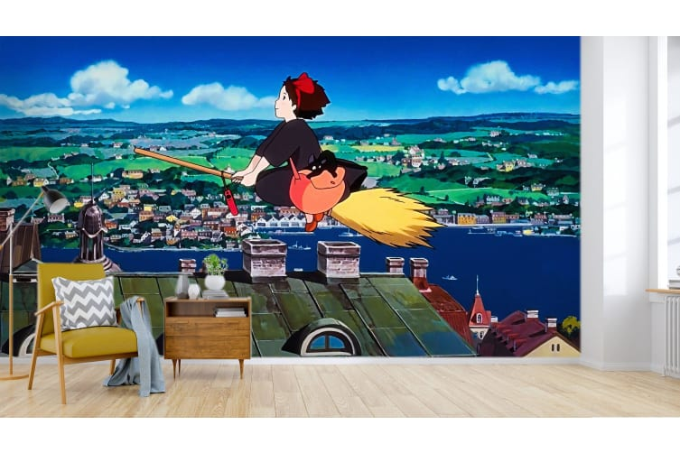 3D Kiki's Delivery Service 033 Anime Wall Murals Woven paper (need glue), XXXL 416cm x 254cm (WxH)(164''x100'')