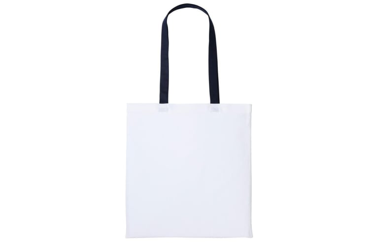 Nutshell Varsity Cotton Shopper Long Handle Tote (White/Oxford Navy) (One Size)