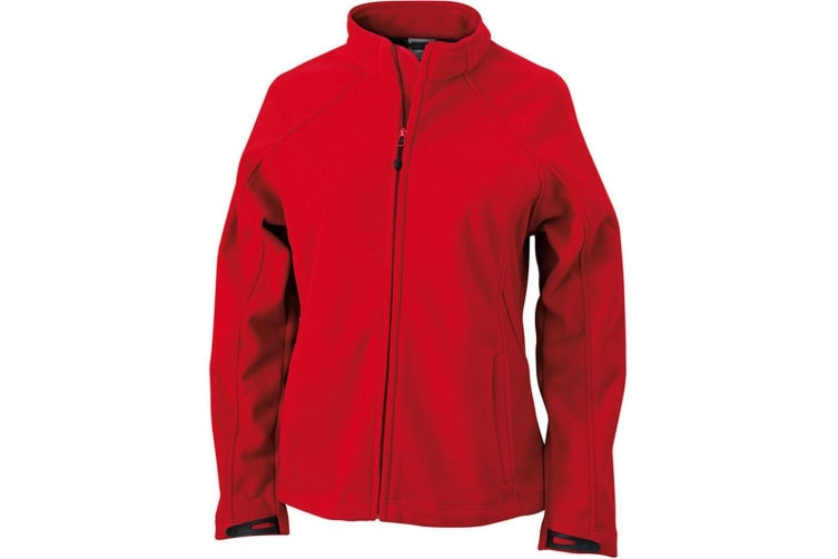 James and Nicholson Womens/Ladies Bonded Fleece Jacket (Red/Carbon Grey) (S)