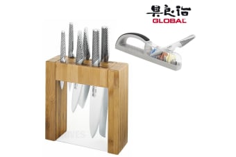 New IKASU GLOBAL 7pc Knife Block Set + BONUS 3 STAGE MINO SHARPENER JAPAN