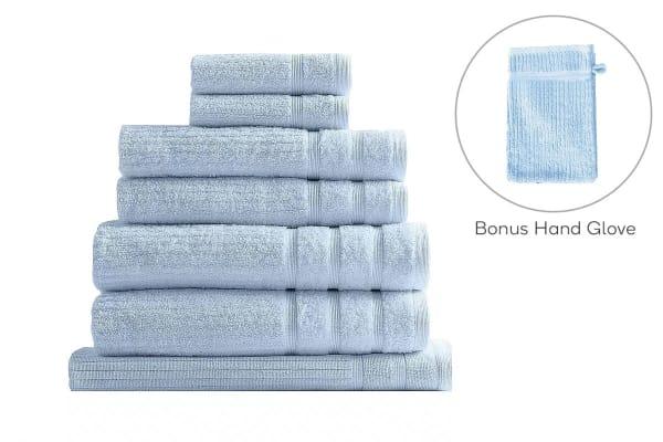 Royal Comfort Set of 7 Eden Egyptian Cotton 600 GSM Towel Pack (Aqua)