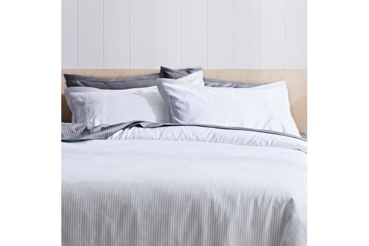 Canningvale Palazzo Linea 1000TC Pillowcase Twin Pack Crisp White with French Grey Stripe - 3cm Flange