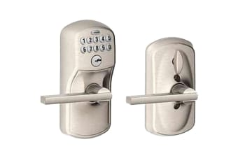 Schlage Keypad Lever with Plymouth Trim and Latitude Lever with Flex Lock (Satin Chrome)