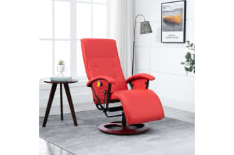 vidaXL Massage Chair Red Faux Leather