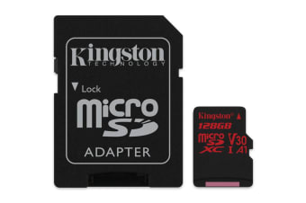 Kingston 128GB microSDXC Canvas React 100Mb/s U3 UHS-I V30 A1 Card with SD Adapter