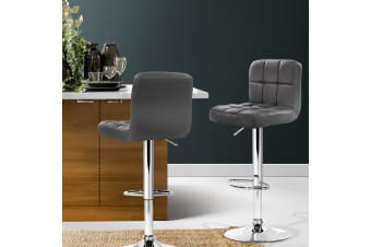 Artiss 2x Bar Stools Kitchen Swivel Bar Stool Leather Gas Lift Chairs Grey