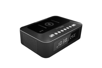 PROMATE Multi-Function Stereo       Wireless Speaker & Chargin Station. Intuitive alarm clock. 10W