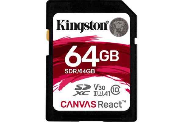 Kingston 64GB SDHC Canvas React 100R/70W CL10 UHS-I U3 V30 A1